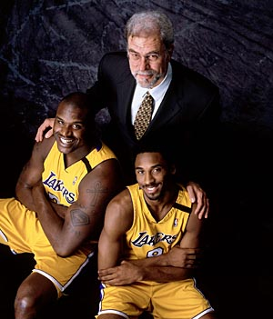 Shaq, Kobe, and coach Phil Jackson. (Photo by Andrew D. Bernstein/NBAE via Getty Images)